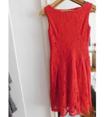 Crvena svecana cipkana haljina S/M