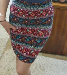 Duboka uska suknja šarena