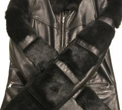 Italijanska kozna crna jakna sa prirodnim krznom