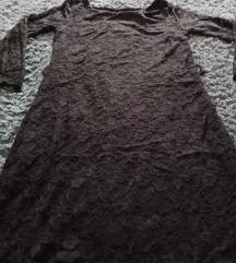 Braon čipkana haljina do kolena