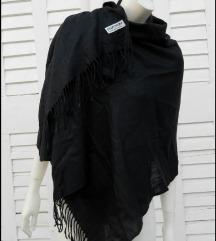 Velika crna esarpa pashmina i svila kao nova