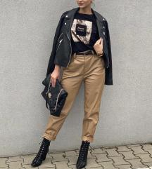 Zara krem kozne pantalone