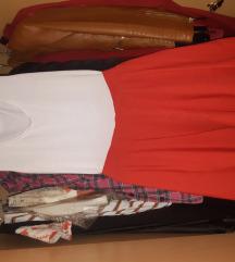 Crveno bela leprsava haljina