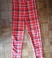 Karirane pantalone dubok struk