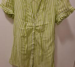 Zara košuljica, tanana, zeleno-bele pruge, nova