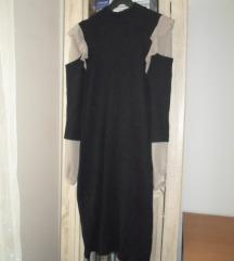 Crna deblja haljina sa umetkom košulje 40/42