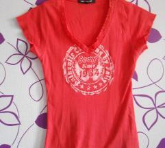 Tally weijl koralnocrvena majica sa čipkom