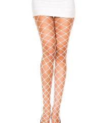 Bele mrežaste čarape krupna mreza