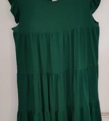 Tamno zelena leprsava haljina 46/48