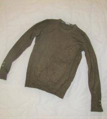 646. ZARA basic pleteni džemper od viskoze, khaki