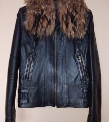 Kožna jakna sa prirodnim krznom, veličina M