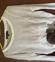 Crop beli končani džemperić