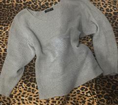 Lila / sivi džemper knitt
