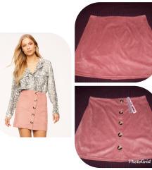 Tally Weijl pink suedette suknja, NOVO