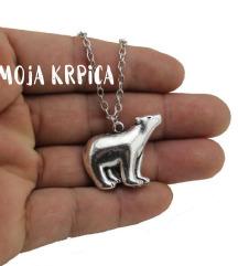 Polarni medved ogrlica sa metalnim lancicem