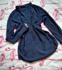 ZARA WOMAN indigo plava bluza faux leather trim