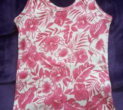 Bershka belo-roze cvetna majica na bretele, S/M