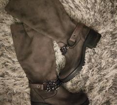 Čizme sive kožne