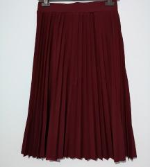 Nova bordo plisirana suknja, midi duzine