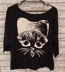 NOVA Crna majica sa printom macke