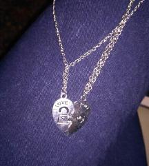 2 ogrlice i duplo srce ključ I love you