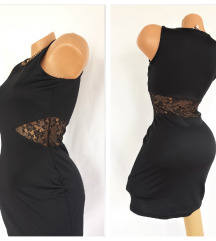 CLOCKHOUSE ⁂ crna sexy haljina sa čipkom