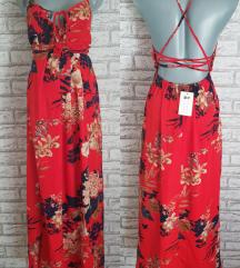 NOVA Crvena cvetna haljina S/M sa etiketom