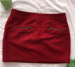 BENETTON crvena vunena suknja 42 ili S KAO NOVA
