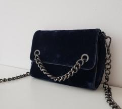 Zara teget plisana torbica