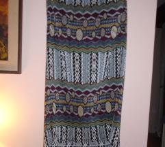Duga plisirana suknja šarenog dezena