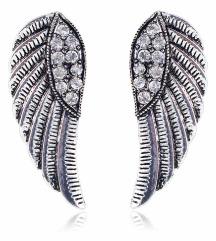 Minđuše krila sa cirkonima srebrne boje - NOVO