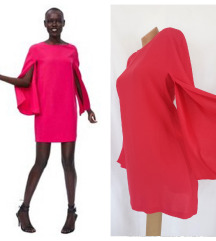 ZARA ✪ koktel pink haljina razrezanih rukava ✪