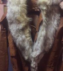 Kožna jaknica sa pravim krznom m vel