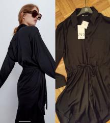 Crna satenska Zara haljina NOVA sa etiketom S