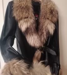 Kožna jakna sa prirodnim krznom xxl