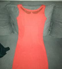 Narandžasta uska haljina