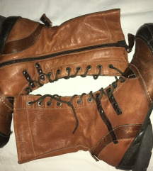 Braon duge kožne cizme na pertlanje