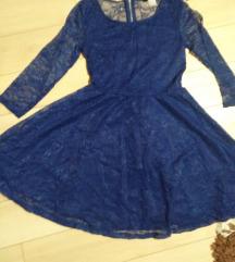 Nova cipkana plava haljina H&M