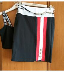 Suknja i crop top crno crveno M