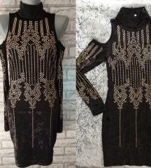 NOVA Crna plisana haljina sa cirkonima XS/S