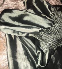 Maslinasta haljina od satena do zemlje