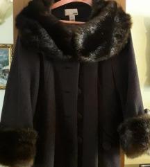 H&M damski braon kaput sa krznom Novo 100% vuna