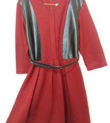 Bordo haljina sa 3/4 rukavima i kaisem (vel.M)