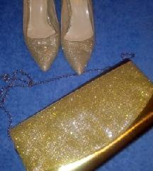Zlatne salonkice+pismo  torbica