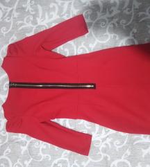 Crvena haljina sa rukavima