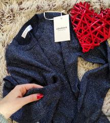 Srmena bluza,Kašmir,teget plava,Nova L/Xl