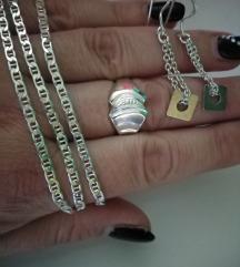 Srebrni nakit, lancic, prsten