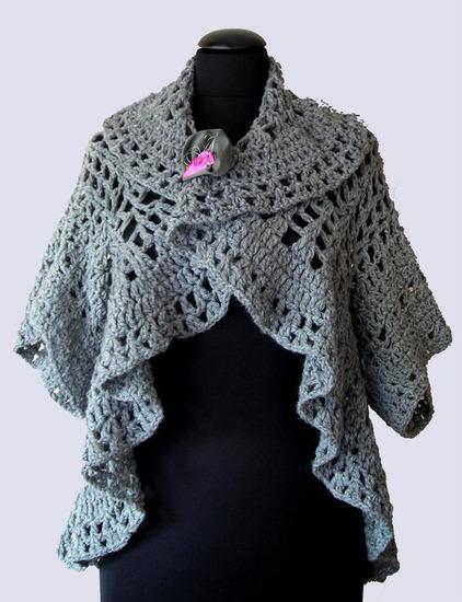 Heklani sivi zimski- jesenji kardigan