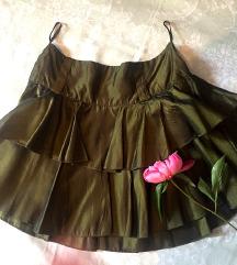 Satenska zelena suknjica