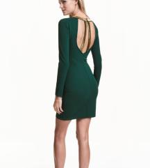 H&M nova haljina 36, tamno zelena